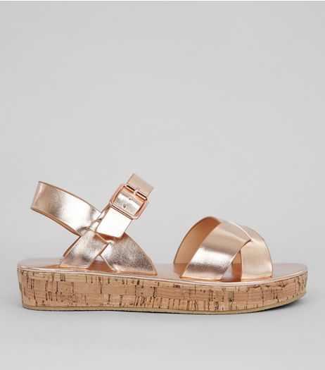Teens Rose Gold Cork Flatform Sandals | New Look