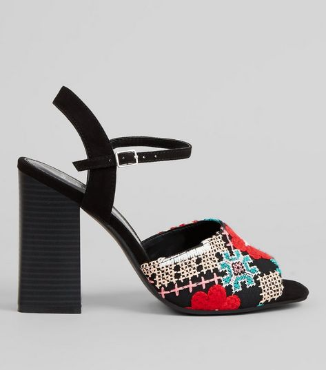 Wide Fit Black Embroidered Heeled Mules  | New Look