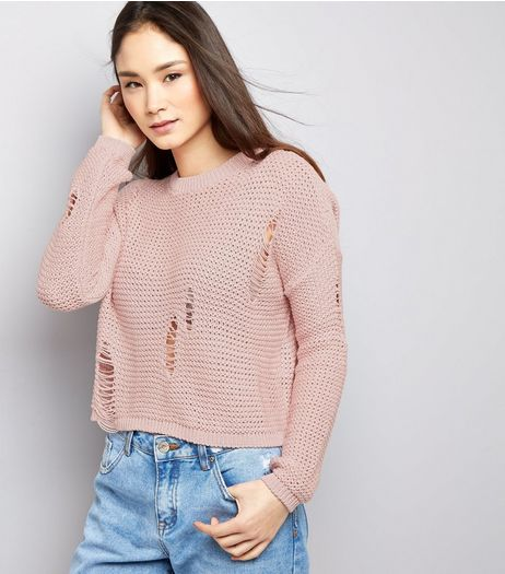 Shell Pink Ladder Ripped Cropped Jumper  | New Look