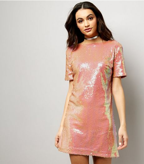 Motel Pink Sequin Scoop Back Dress  | New Look