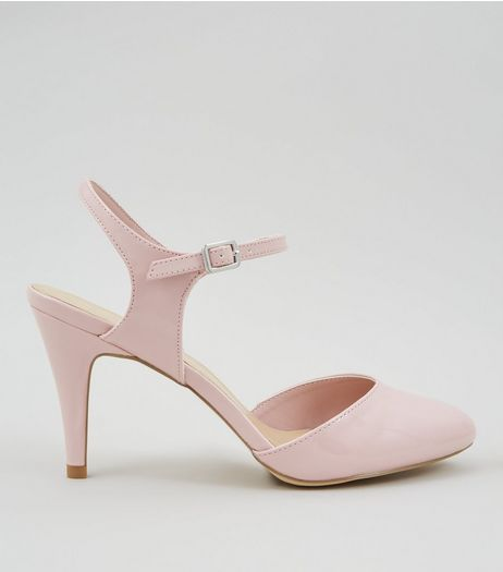 Wide Fit Pink Patent Ankle Strap Court Shoes | New Look