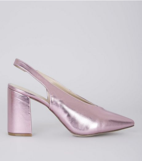 Wide Fit Pink Metallic Pointed Sling Back Heels | New Look