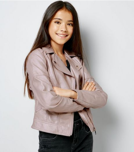 Teens Pink Metallic Biker Jacket | New Look