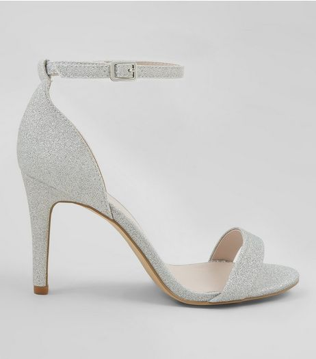 Wide Fit Silver Glitter Heels | New Look