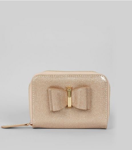 Rose Gold Glitter Bow Front Purse | New Look