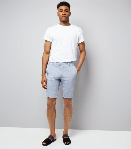 Pale Blue Slim Leg Oxford Tailored Shorts | New Look