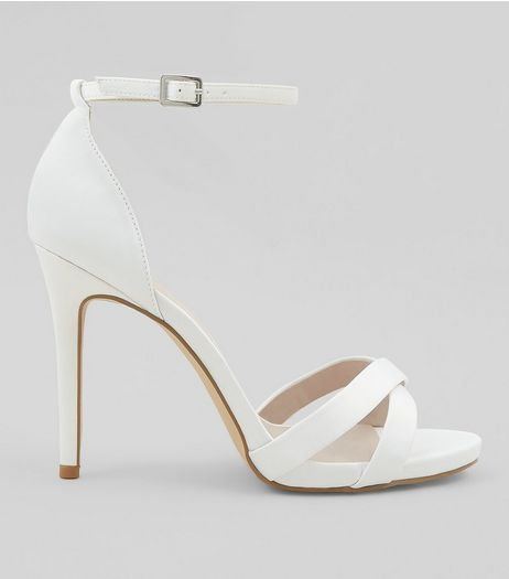 Wide Fit White Sateen Cross Strap Heeled Sandals | New Look