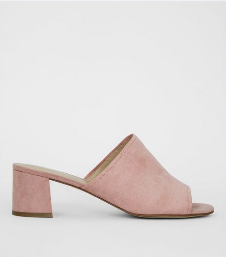 Wide Fit Pink Suedette Block Heel Mules | New Look