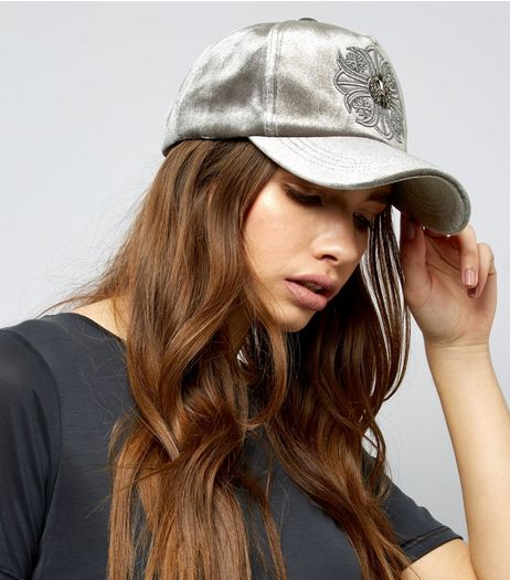 Grey Velvet Embroidered Detail Cap | New Look