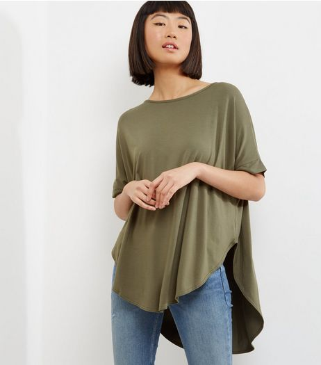 Apricot Khaki Roll Sleeve Curve Hem Top  | New Look