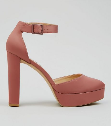 Pink Satin Platform Heels | New Look