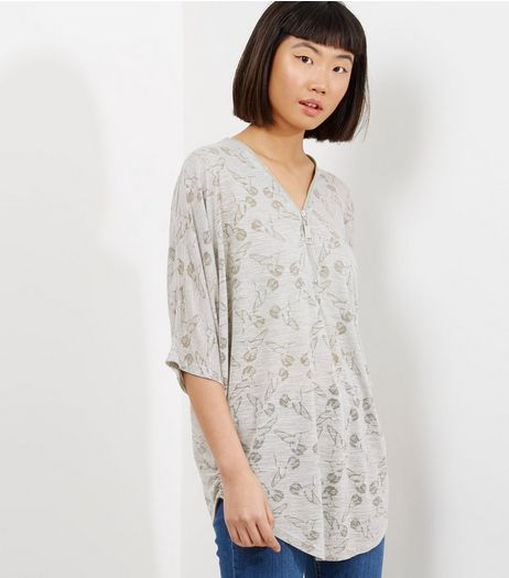 Apricot Grey Bird Print 1/2 Sleeve Zip Front Top  | New Look