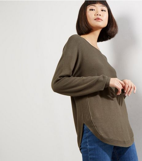 Apricot Khaki Curved Hem Zip Back Jumper  | New Look