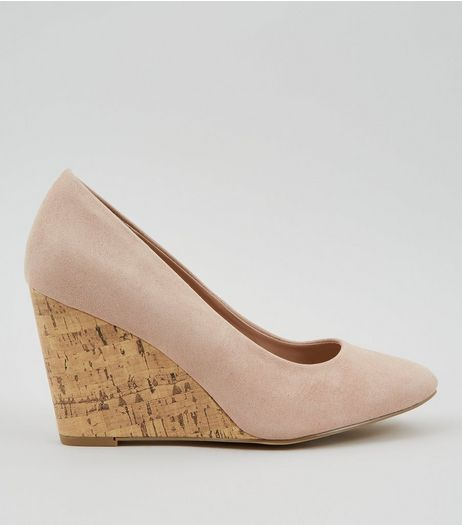 Pink Suedette Cork Wedge Heels | New Look
