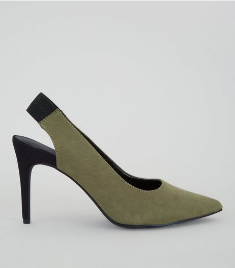 Khaki Suedette Sling Back Pointed Heels | New Look