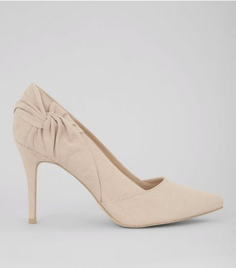 Nude Pink Suedette Twist Side Pointed Heels | New Look