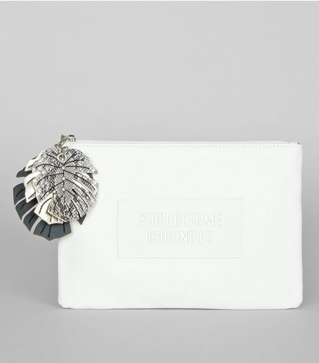 White You Drive Me Coconuts Clutch Bag | New Look