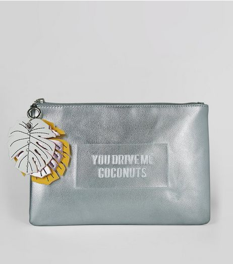 Silver You Drive Me Coconuts Embossed Clutch Bag | New Look