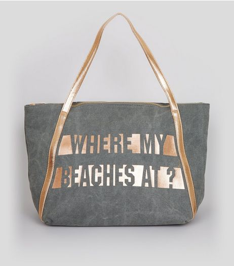 Grey Where My Beaches At Tote Bag | New Look