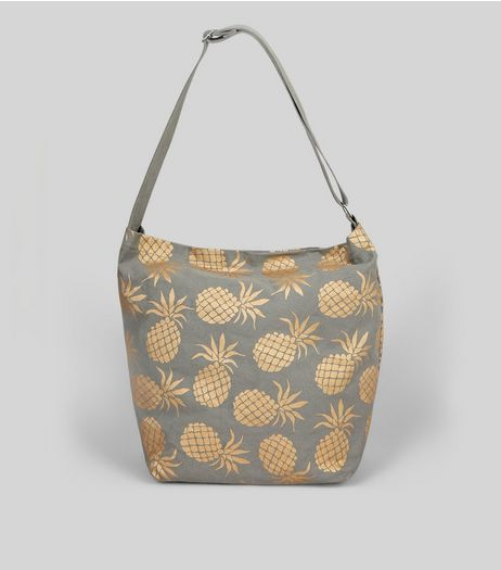 Grey Metallic Pineapple Print Hobo Bag | New Look