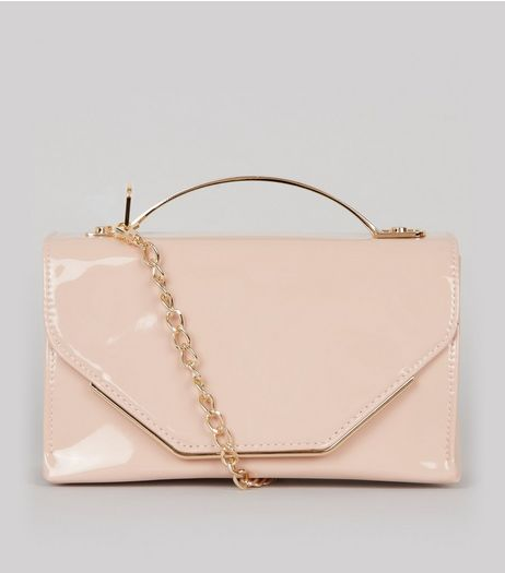 Shell Pink Patent Metal Trim Cross Body Bag | New Look