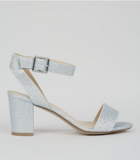 Teens Silver Glitter Heeled Sandals | New Look