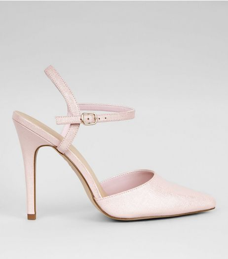 Pink Shimmer Pointed Heels | New Look