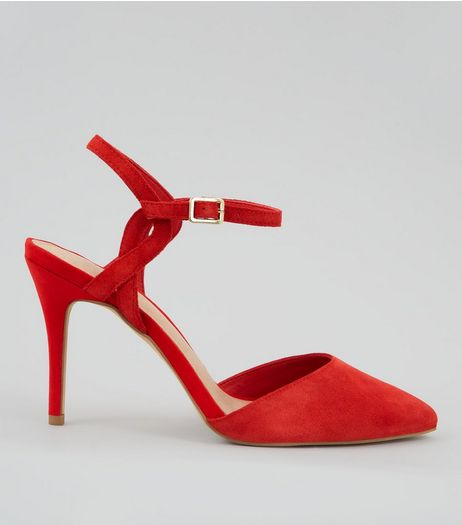 Red Comfort Suede Cross Strap Side Pointed Heels | New Look