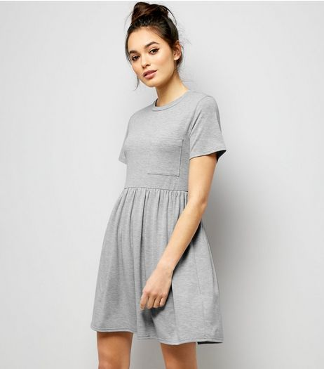 Grey Jersey Smock T-Shirt Dress | New Look