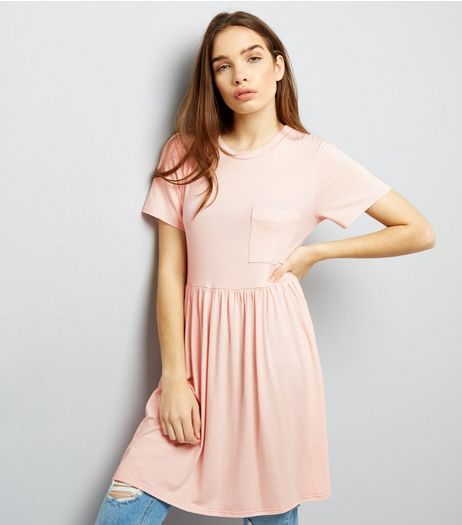 Shell Pink Jersey Smock T-Shirt Dress  | New Look