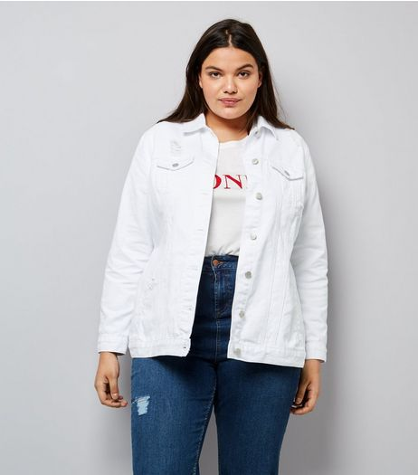 Curves White Ripped Denim Jacket | New Look