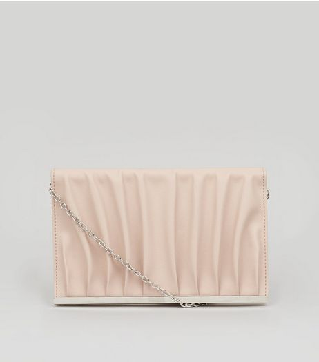 Nude Pink Gathered Clutch  | New Look