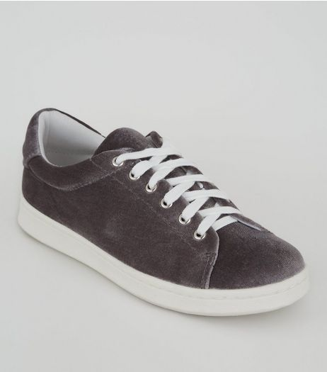 Teens Grey Velvet Lace Up Trainers | New Look