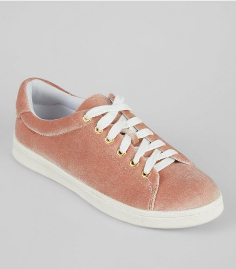 Teens Pink Velvet Trainers | New Look