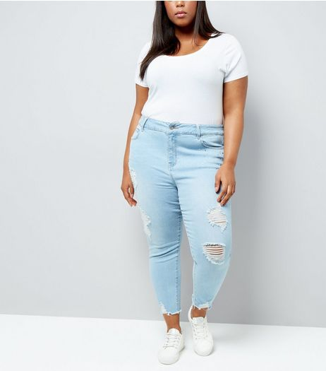 Curves Blue Gem Detail Ripped Mom Jeans | New Look