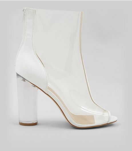 White Clear Open Toe Heeled Boots  | New Look