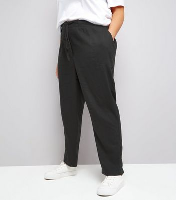 Curves Black Tie Waist Cropped Trousers