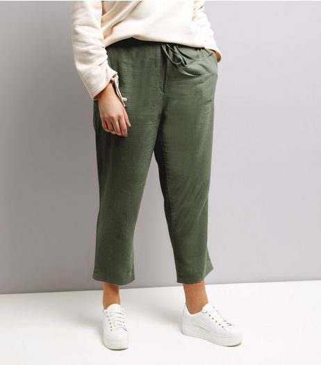 Curves Khaki Tie Waist Cropped Trousers | New Look