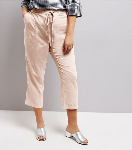 Curves Shell Pink Tie Waist Cropped Trousers | New Look