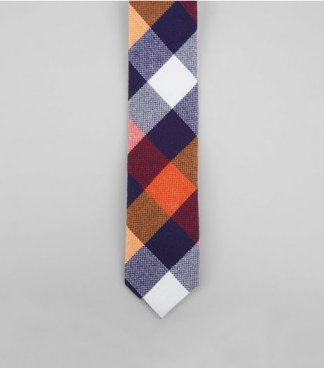 Purple Check Print Tie | New Look
