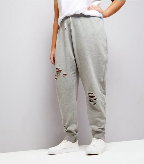 Curves Grey Ripped Jersey Joggers | New Look