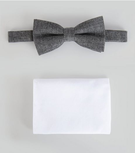 Grey Bow Tie And Pocket Square Set  | New Look