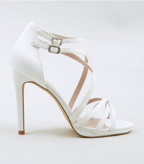 Ivory Satin Multi Strap Heels | New Look