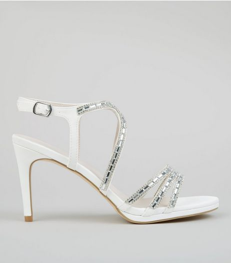 Ivory Satin Embellished Heels | New Look