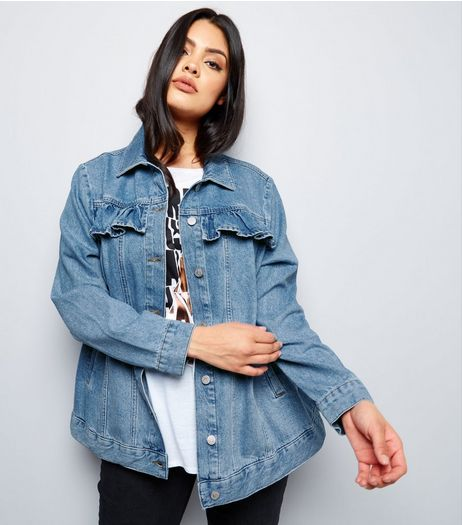 Curves Blue Frill Trim Denim Jacket | New Look
