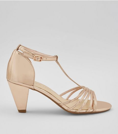 Teens Rose Gold T-Bar Heels | New Look