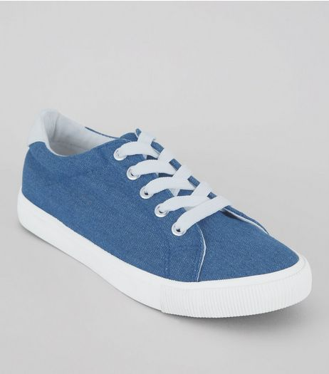 Teens Blue Denim Sneakers | New Look