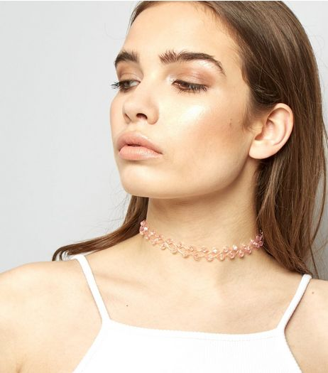 Pink Bead Tattoo Choker | New Look