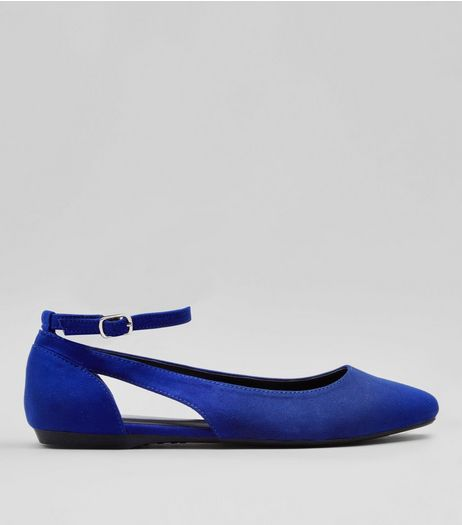 Teens Blue Suedette Cut Out Side Pumps | New Look