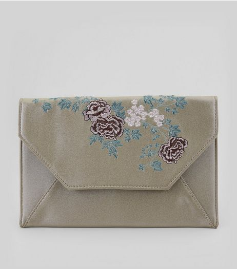 Silver Metallic Floral Embroidered Envelope Clutch | New Look